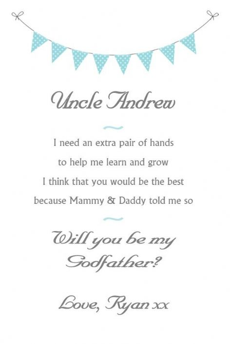 Will you be my Godfather / Godmother card Design 1
